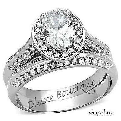2.65 Ct Oval Cut CZ Halo Pave Stainless Steel Wedding Ring Set Women's Size 5-10