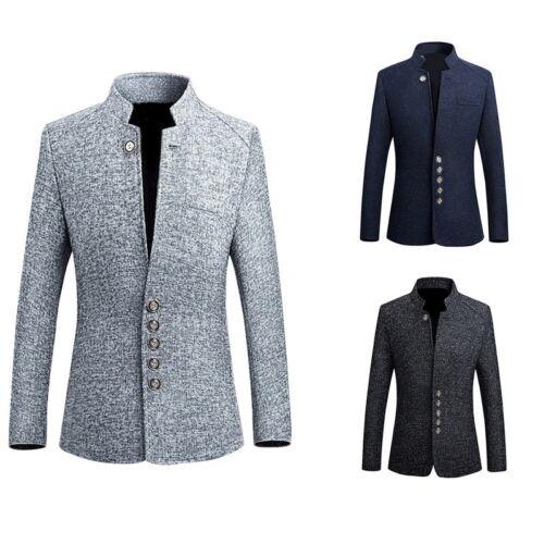 Herren Jacke Blazer Schlank klassische Anzug Stehkragen Mantel-Blazer Knopf