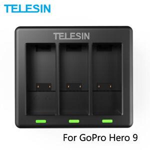 Paquete de 3 con Cargador de 3 Canales para GoPro Hero 9 Negro Accesorios TELESIN Bater/ías y Cargadores para Hero 9,Bater/ía de Repuesto