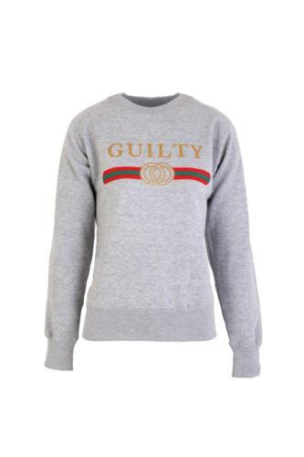 "New Women/'s Ladies Long sleeves  Slogan /""GUILTY/"" Sweatshirts Top UK 8-16"