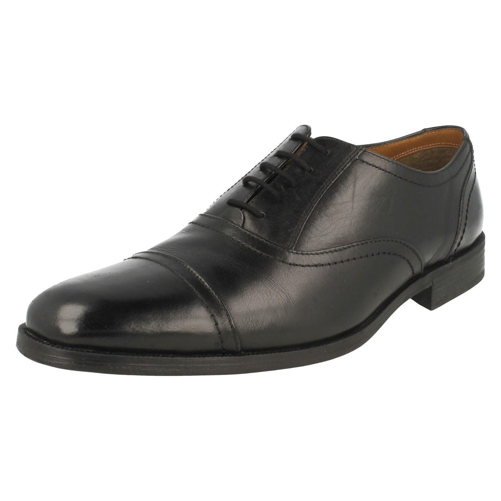 Da Uomo Clarks Nero Pelle Stringati Scarpe Stile-Bakra Ascensore G Fit Scarpe classiche da uomo