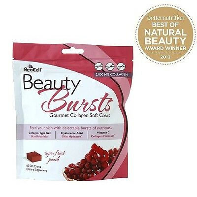 NeoCell Beauty Burst Fruit Punch 60 Soft chews Free Shipping EXP:05/2018
