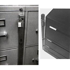 Image is loading New-Locking-Bar-4-Drawer-Metal-File-Cabinet-  sc 1 st  eBay & New Locking Bar /4 Drawer Metal File Cabinet Office Locks Security ...