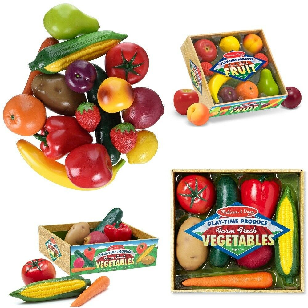 Fruits and Vegetables Melissa and Doug Set of 16 Pieces Toys (( FREE SHIPPING )