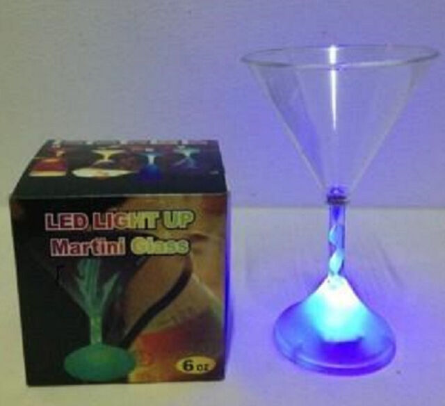 Flashing  Led Martini Glass  Light Up Barware  Drink Cup#3128  6 oz