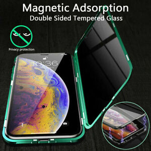Magnetic-Tempered-Case-Anti-Spy-Cover-Front-Back-Glass-for-iPhone-6-7-8-X-XS-11