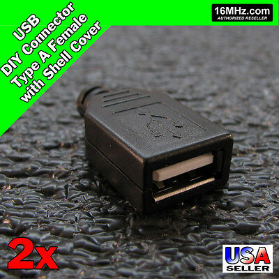 10Pcs Type A USB 4 pin Female Socket Adapter Connector Plastic shell cover ASS