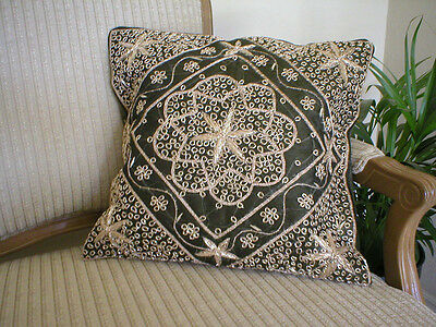 Olive Handmade Embroidered Sequins and Beads Pillow Case Cushion Cover