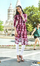 "Indian Pakistani 100% Cotton Kurti Bollywood Ethnic Tunic Size-XL Bust 42"" Flora"