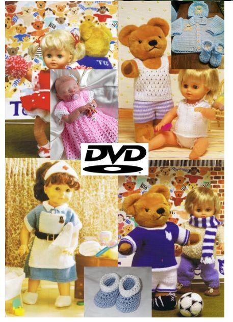 2000+ Knitting & Crochet Patterns 2 DVD Baby Toddler Childrens Doll Clothing 059