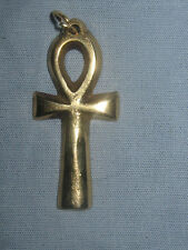 37MM GOLD BRASS ANKH EGYPT EGYPTIAN EGYPT AHNK TUT CHARM PENDANT NECKLACE