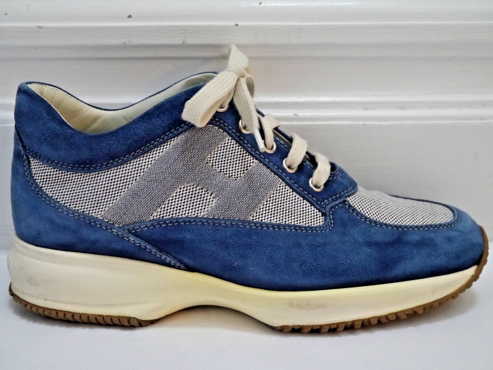 HOGAN Interactive bluee suede and canvas sneakers athletic style shoes size 8.5