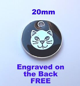 Cat-ID-Tags-Quality-Black-with-Silver-Cat-Face-PET-Tag-Engraved-FREE