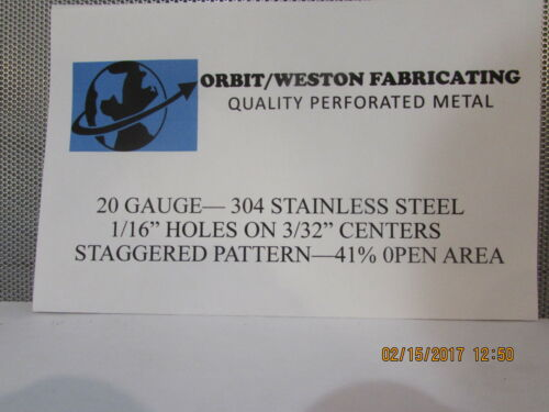 """20 GAUGE 304 STAINLESS PERFORATED SHEET 1//16 HOLES ON 3//32 CENTERS--12/"""" X 12/"""""""