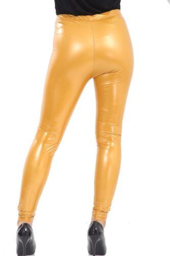 Women Ladies Vinyl PVC Wet Look Shiny Disco Elasticated High Waist Leggings Pant