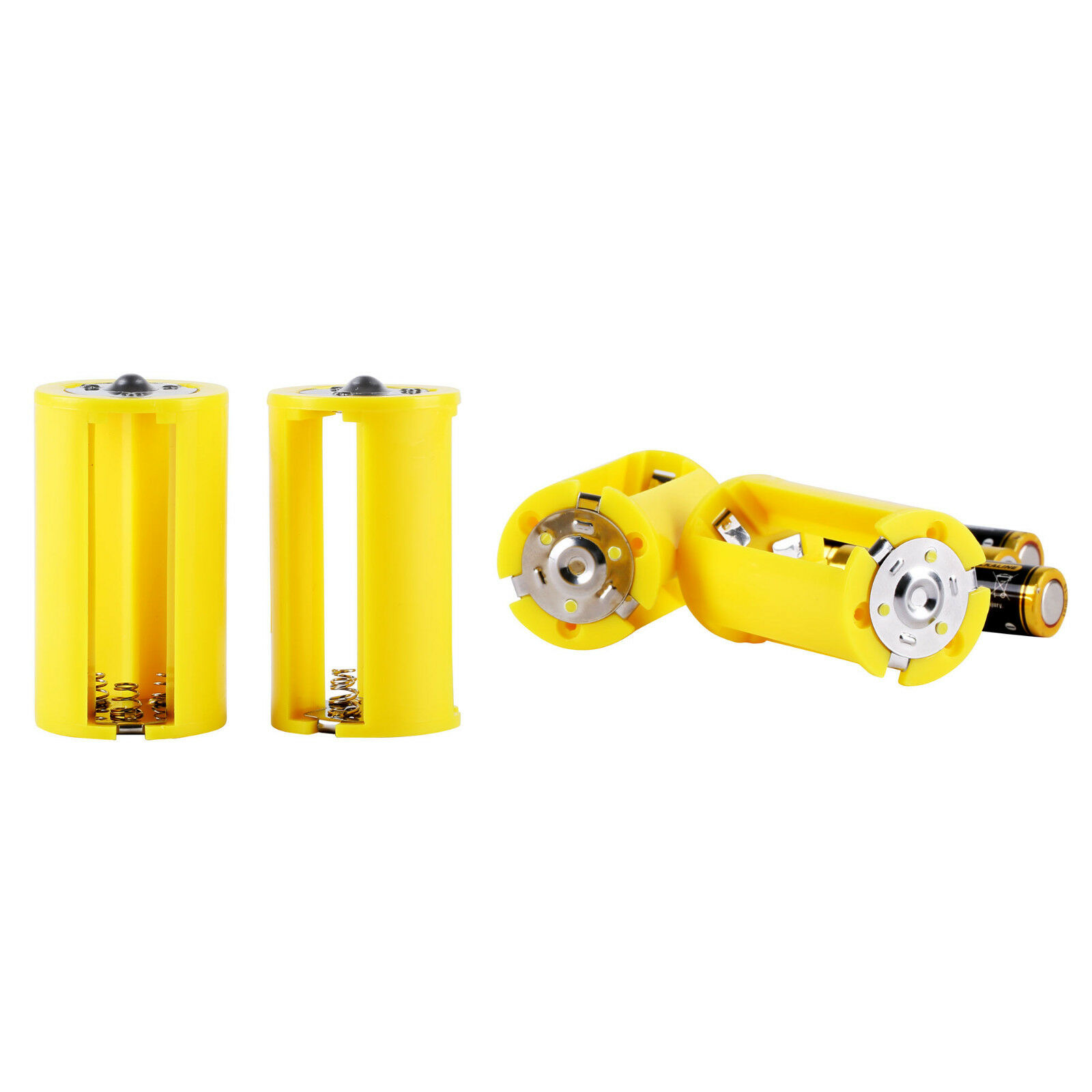 4pcs Parallel AA Battery Adapters Holder 1.5V Converter 3 AA To 1 D Size Yellow