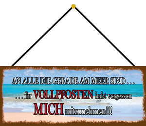 An All Die at the Sea Are Shield with Cord Metal Tin Sign 10 X 27 CM K0034-K