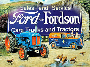 Ford-and-Fordson-tractor-large-steel-sign-ls-farmyard-400mm-x-300mm-og