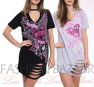 Womans-Forever-Young-Soul-Laser-Cut-Distressed-Long-T-Shirt-V-Choker-Mini-Dress