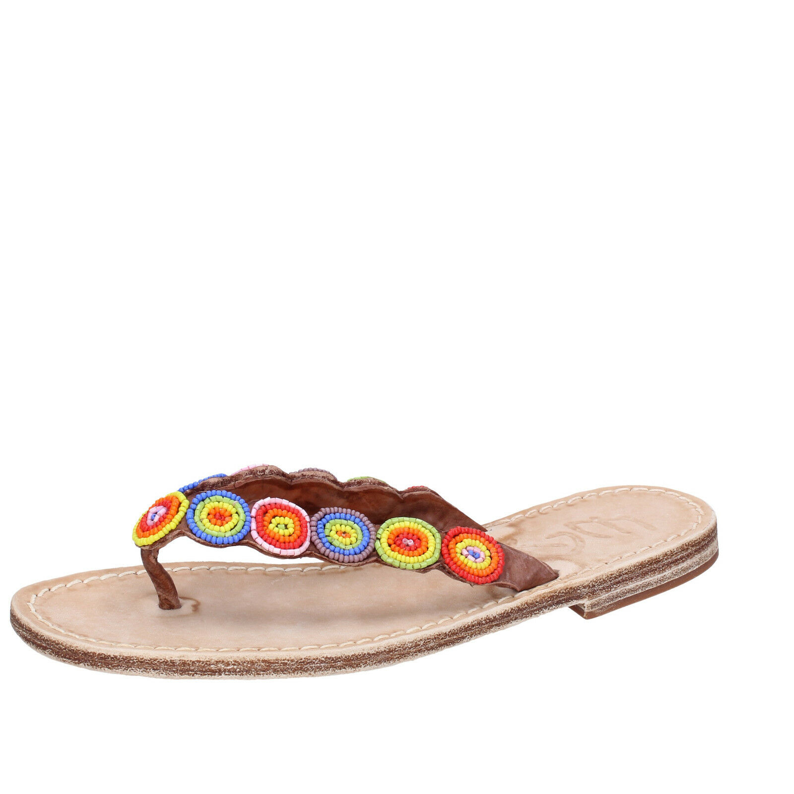 Womens shoes Eddy Daniele 37 EU Sandals Multi-Coloured Leather aw298