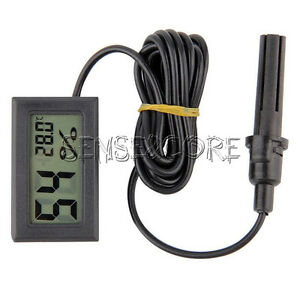 black digital lcd temperature luftfeuchtigkeit thermometer hygrometer mit f hler ebay. Black Bedroom Furniture Sets. Home Design Ideas
