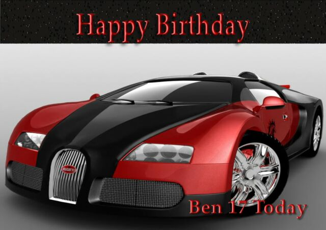 Personalised Birthday Card Bugatti Sports Car Son Grandson Daughter O