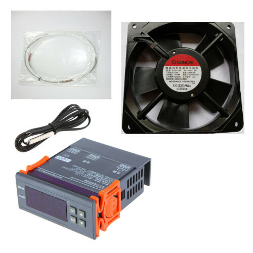 Kit Incubadora Termostato Digital + Resistencia de Silicona 45-150W + Ventilador