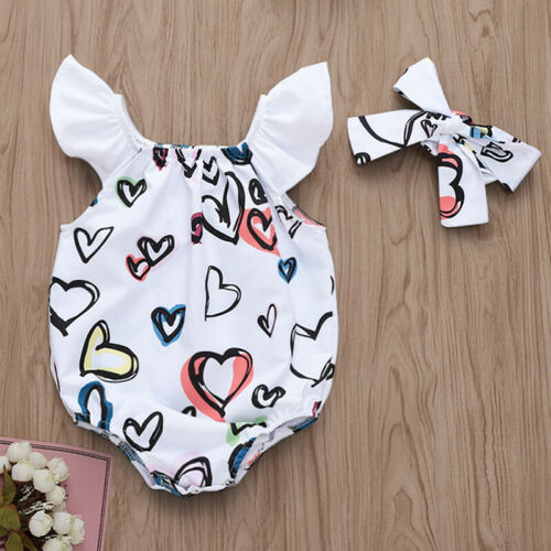 Sweet Newborn Baby Girls Romper Jumpsuit Bodysuit Headband Outfits Clothes Sets