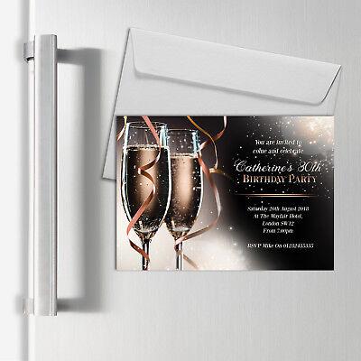 Compiacente Inviti Personalizzati Magnetico Per Adulti | Champagne Festa Di Compleanno | A6 Magneti-