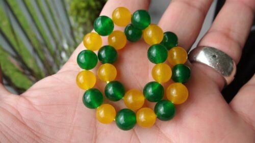 """en Stretch 8mm AAA Genuine Amarillo y Verde Jade Pulsera de abalorios para hombres 8/"""""""