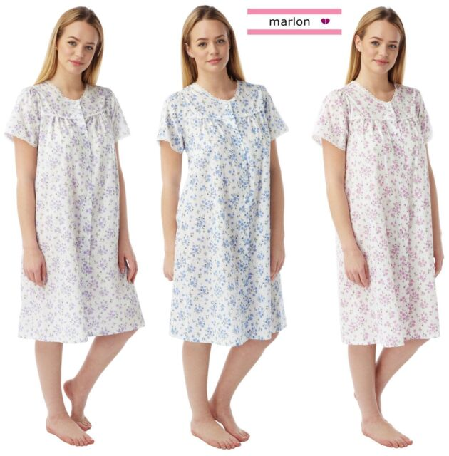 Ladies Poly Cotton Floral Short Sleeve Nightdresses by Marlon from 12-26
