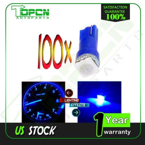 100X Blue T5 17 58 70 73 74 Dashboard Gauge 5050 SMD LED Wedge Lamp Bulbs Light