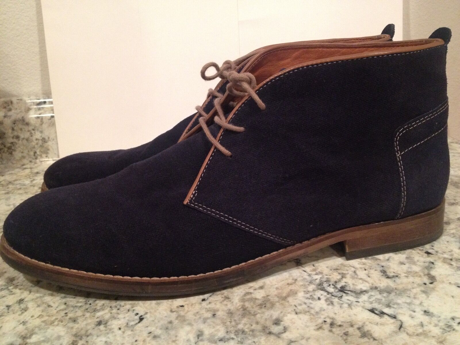 H By Hudson Ankle Boots Chukka Lace Up Casual Suede Dark bluee Navy 45 US 10-11