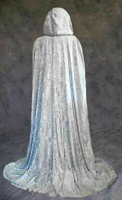 Silver Velvet Cloak Cape Wedding Wicca Medieval SCA Ren