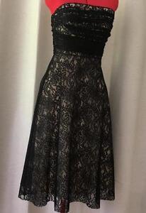 Black-Cocktail-Sexy-Flirty-Dress-Womens-Sz-Size-Medium-10-Lace-Strapless-FREE