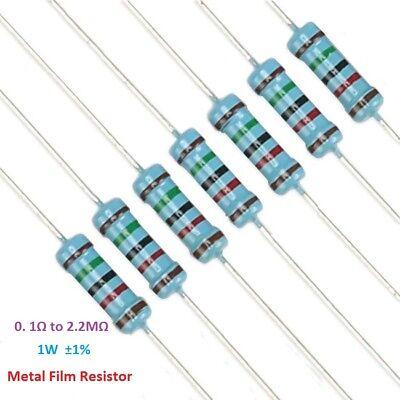 50PC Metal Film Resistor 1W Power ±1/% Tolerance 0.1 Ohm to 2.2M Ohm