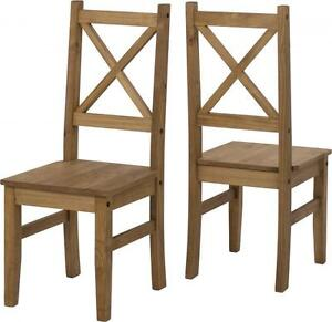 Wooden Chair Pine Wood Pair of Corona Chairs in Distressed Waxed Pine or White