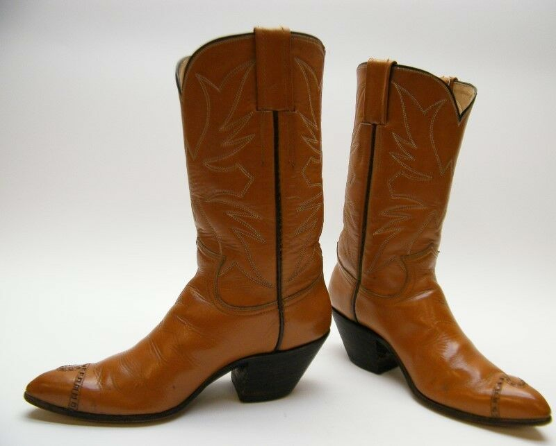 Damenschuhe VINTAGE TAN BROWN LEATHER LEATHER COWBOY WESTERN Stiefel SZ 6.51/2 C