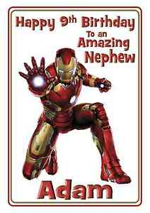 Iron Man Avengers Birthday Card A5 Personalised with own words