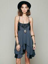 Free People Pieced Lace Tunic Trapeze Slip Dress M Storm Blue Gray Rare