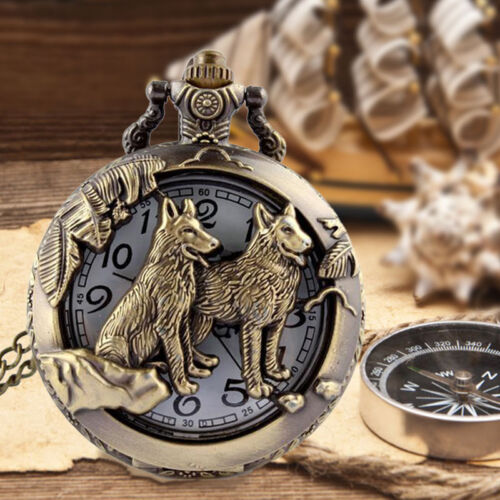 Antique Vintage Wolves Retro Bronze Quartz Pendant Necklace Pocket es
