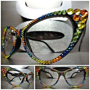 Women's VINTAGE RETRO 60's CAT EYE Clear Lens EYE GLASSES Crystal Frame Handmade
