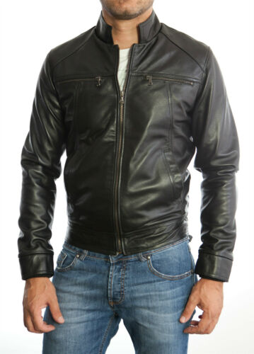 ★Giacca Giubbotto Uomo in di PELLE 100/%★ Men Leather Jacket Veste Homme Cuir 3s9