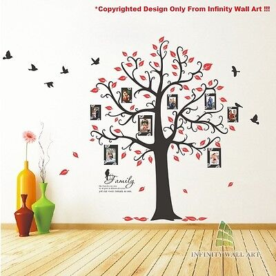 Family Tree Birds Photo Frame Quotes Tree Wall Stickers,Wall Art Decals -- PD538