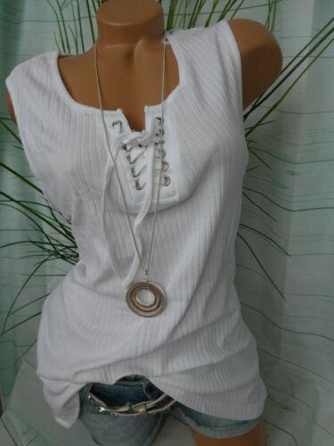 40 bis 46 weiß Sheego Shirt Top Damen Schnürung Ripptop Gr 596
