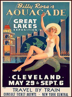 Aquacade Cleveland Ohio Vintage United States Travel Advertisement Art Poster