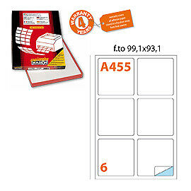 47615 Etichetta adesiva A/455 bianca 100fg A4 99,1x93,1mm (6et/fg) Markin