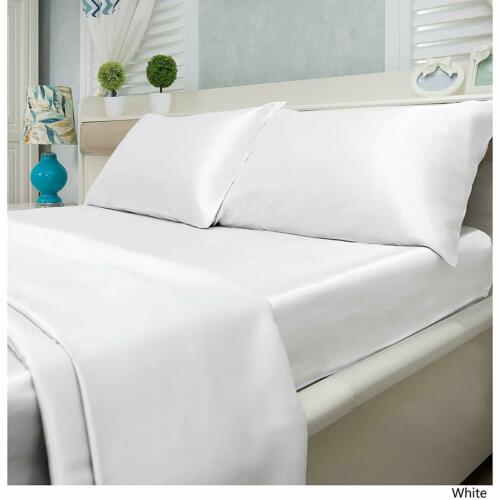"White Solid 9/""to 25/""Deep Pocket Bedding Items US Sizes 800 TC Satin Silk"