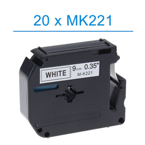 Tape Fits Brother Black on White MK221 PT-80 PT-70 PT-90 P-Touch 9mm x 8m