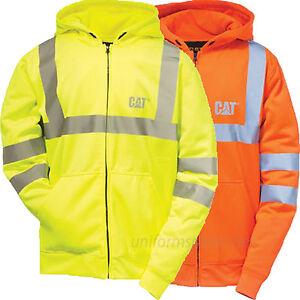 Hoodies & Sweatshirts Caterpillar Sweatshirt Men CAT Zipper Hooded Fleece Hi-Vis Lined Jacket Class 3 Clothing, Shoes & Accessories